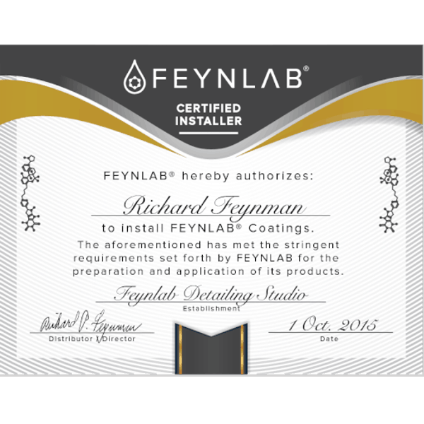 Feynlab Certified Installer Certificates show clients your detailing business has taken ceramic coating education seriously.