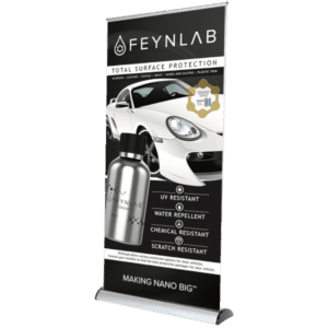 Feynlab Roll-up Banners advertise the revolutionary properties of Feynlab automotive ceramic nano coatings.